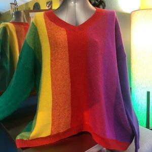 Rainbow Pullover Sweater Plus Size